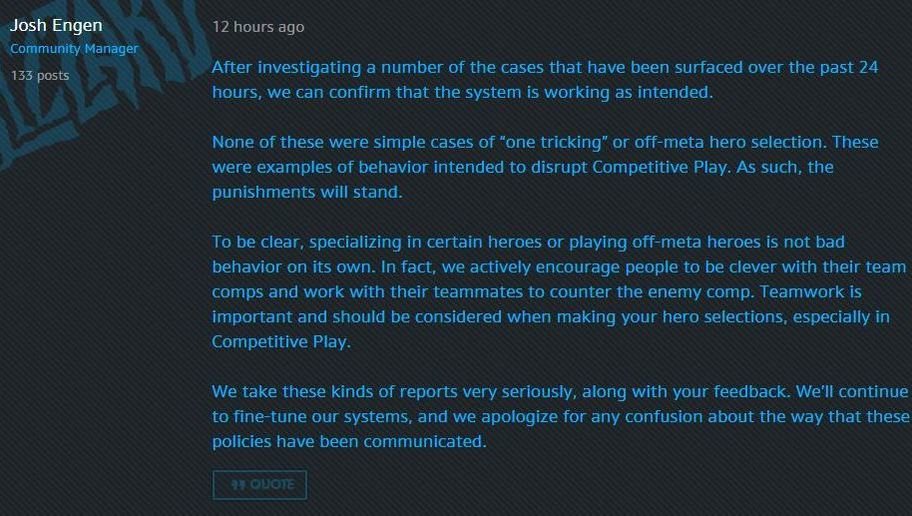 Blizzard Responds To Torbjorn Ban
